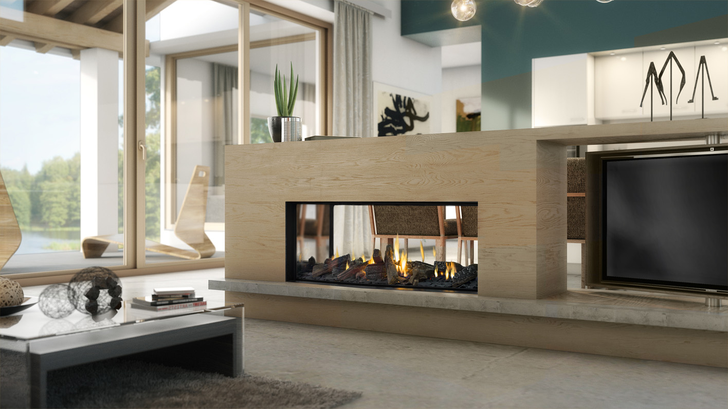 DS1150 gas fireplace with Woodland Selection