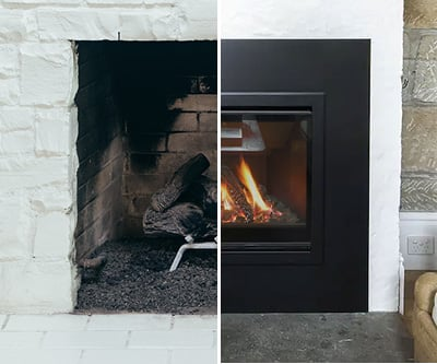Replacing an open fire with a gas fireplace22