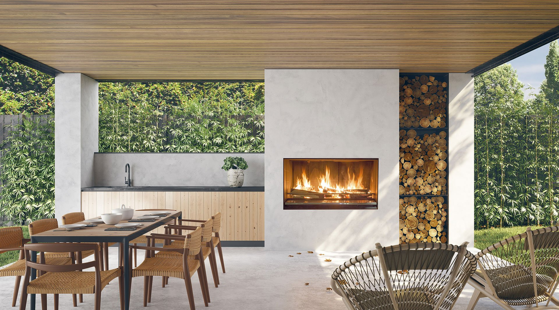 Double Sided Fireplace Range Escea Fireplaces Australia