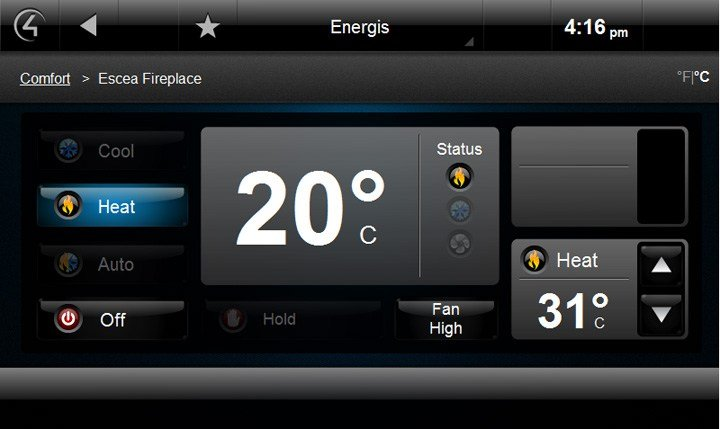 Escea Fireplace Control4 Screenshot