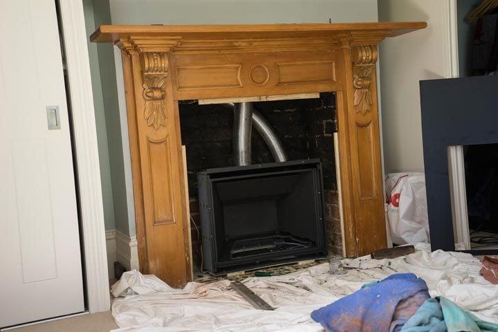 Open chimney face, mid install