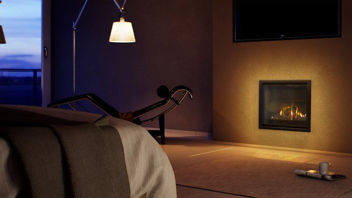 AF700 Fireplace in a bedroom
