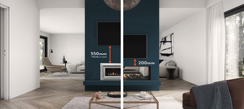 tv clearance height for your gas fireplace. Black Bedroom Furniture Sets. Home Design Ideas