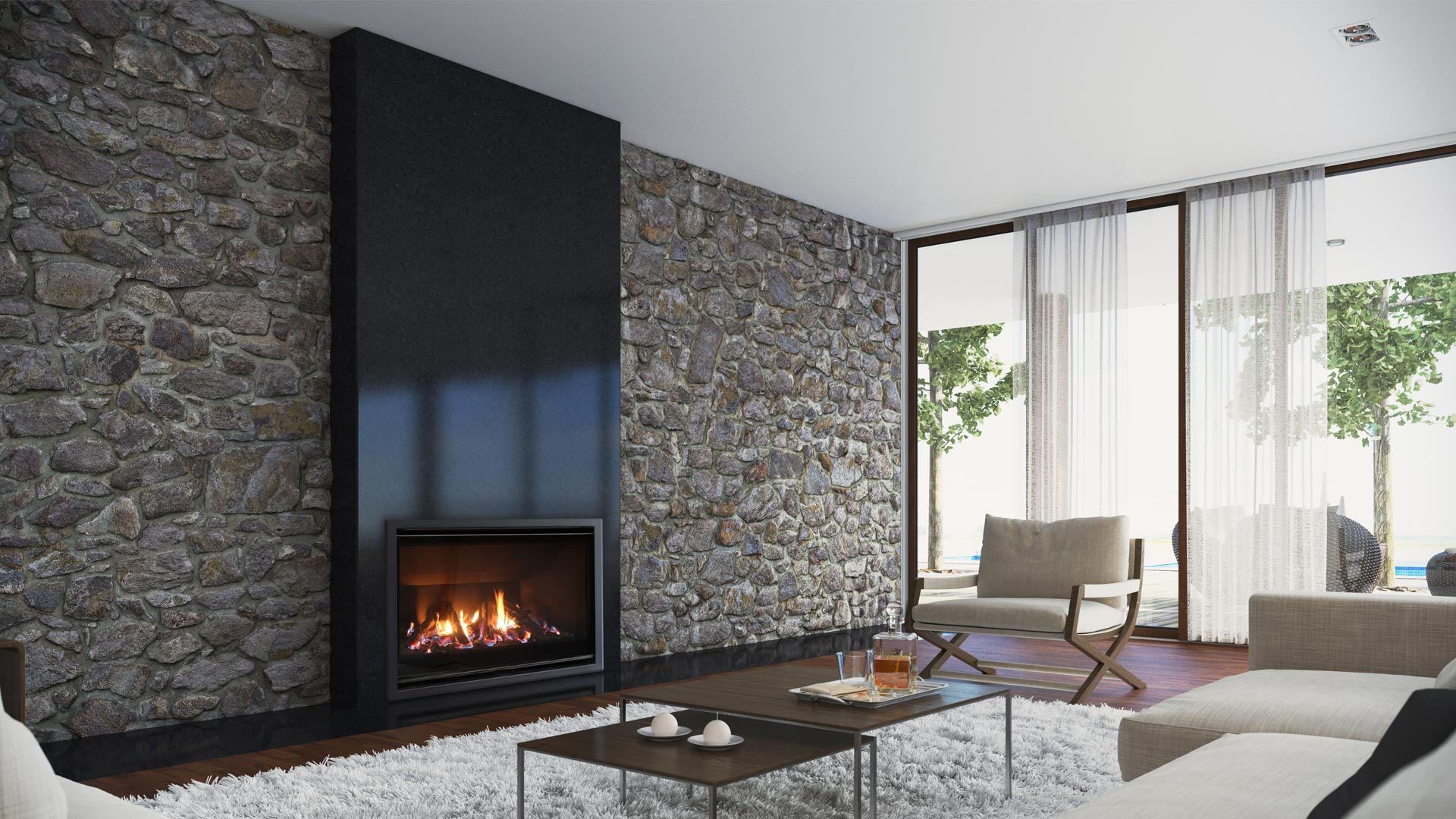 DF gas fire within roomset