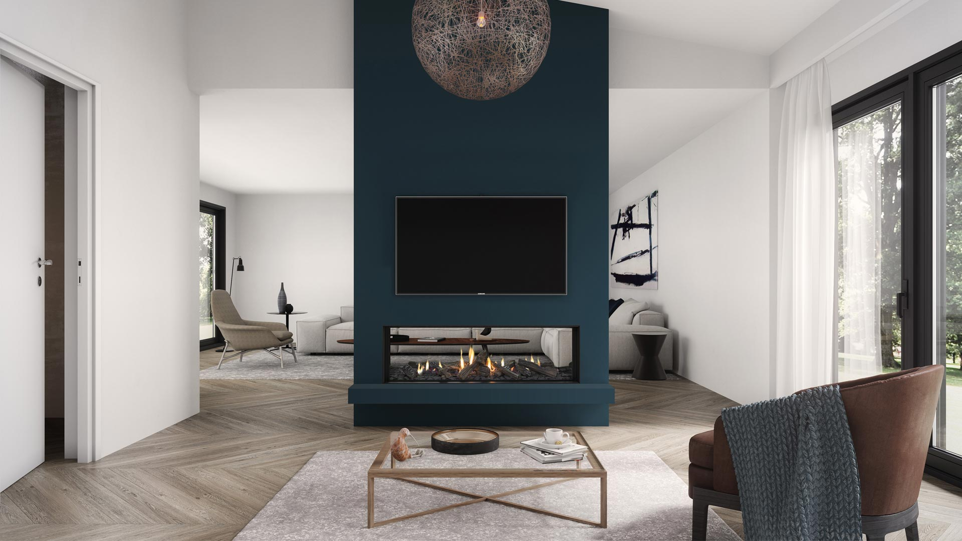 DS1400 gas fire with chair